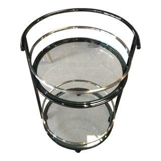 Modern Round Metal & Glass Two-Tier Bar Cart