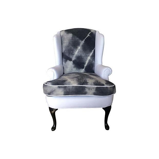 Indigo & White Denim Wingback - Image 1 of 5