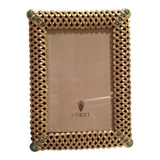 L'Objet Gold Plated Frame With Turquoise Stone