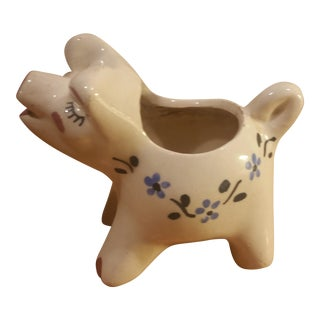 Asian Handpainted Ceramic Pig Planter