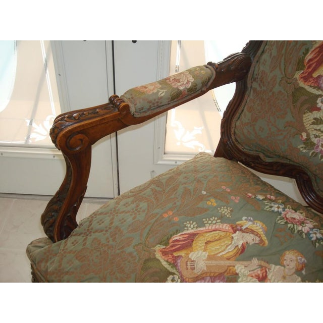 French provincial heavily carved walnut large arm chair for 0co om cca 9 source table