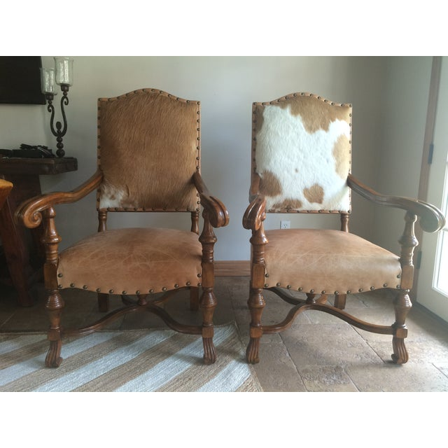 Cowhide & Leather Camargue Chairs - A Pair - Image 2 of 7