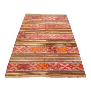 Turkish Vintage Kilim Rug - 4′6″ × 6′10″