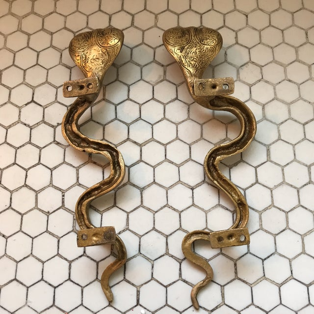 Gold Brass Cobra Door Handles- a Pair - Image 10 of 11