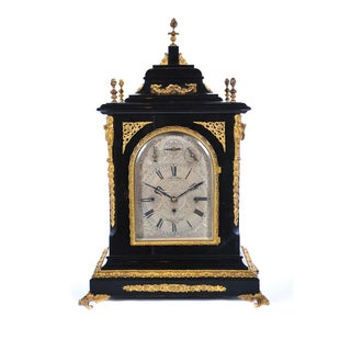 19th C. Reid & Sons Triple Fusee Ebony & Gilt Mantel Clock