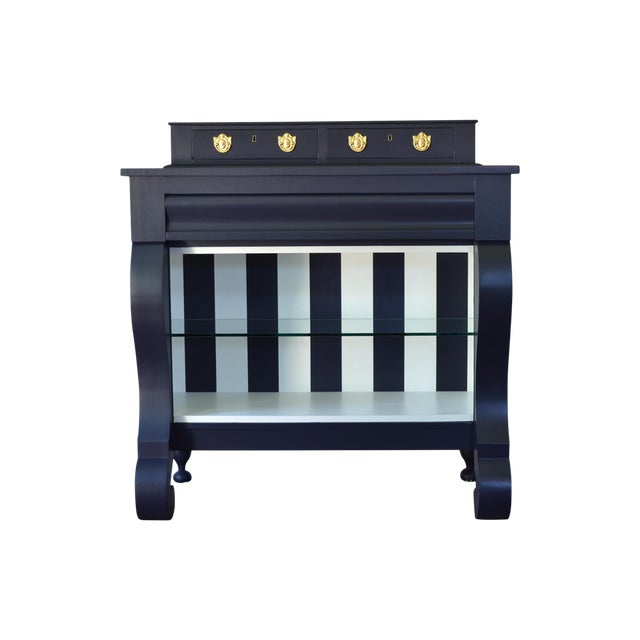 Antique Empire Buffet Bar in Navy Blue & White - Image 1 of 8