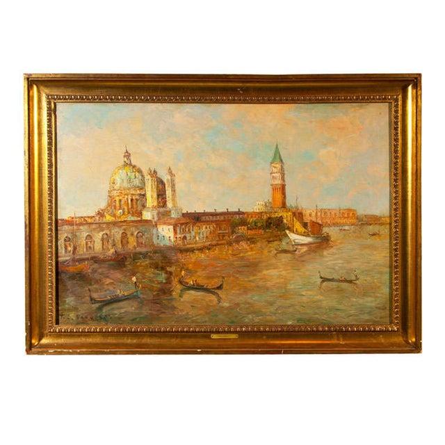 Oil Painting of Venice Harbor by T.L. Novaretti - Image 1 of 9