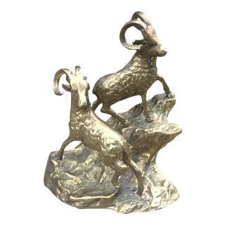 Brass Climbing Mountain Goats Sculpture