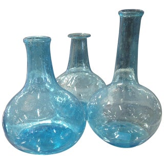 Hand Blown Blue Glass Vases - Set of 3