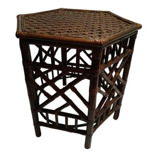 Vintage Chinese Hexagonal Rattan Side Table
