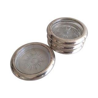 Glass & Silver Plate Italian Coasters - Set of 4