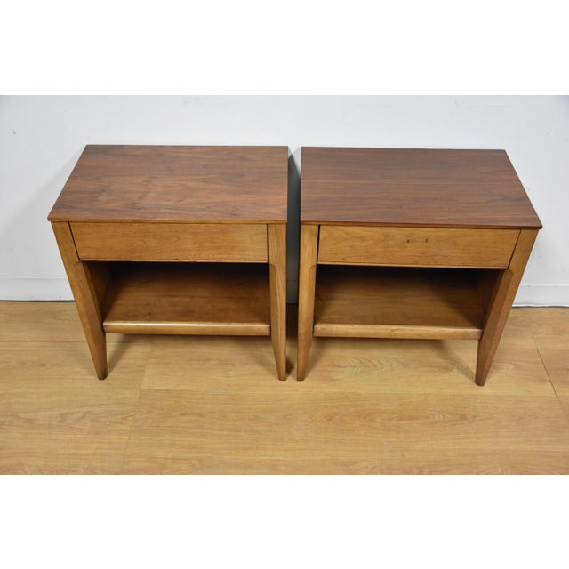 Mid-Century Walnut Nightstands - A Pair - Image 3 of 8