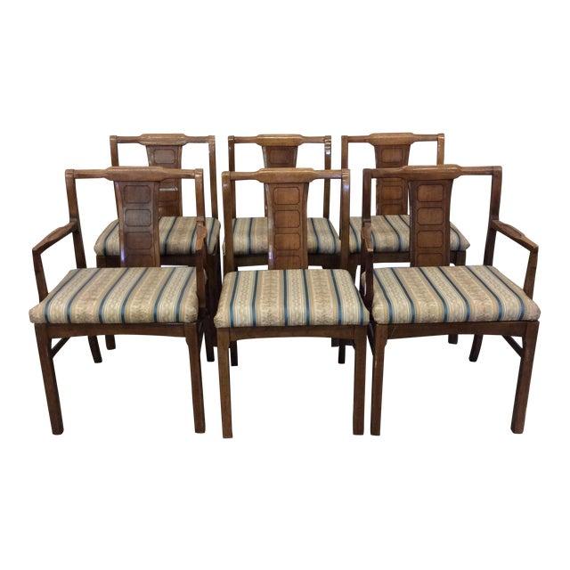 Mid century modern walnut low back dining chairs set of for Modern low back dining chairs