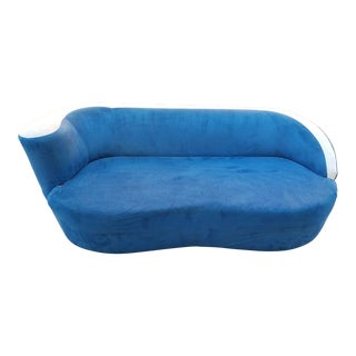 Vladimir Kagan for Directional Nautilus Sofa in Blue Velvet