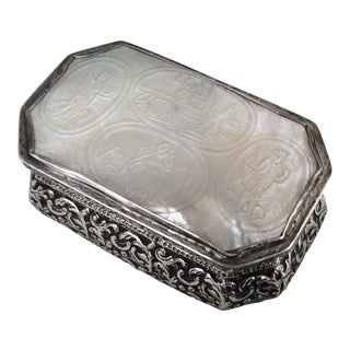 18th Century Continental Silver & Mother of Pearl Box