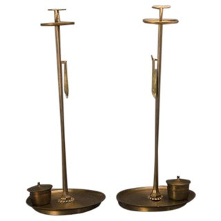 "A pair of stunningly sized ""shokudai"" bronze candle stands from the Meiji period in Japan (1868-1912)."