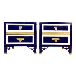 Hollywood Regency Fretwork 3-Tone Lacquered Tables - A Pair