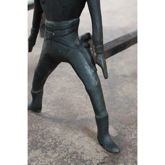 Image of Vintage Cast Iron Figural Cowboy Andirons - A Pair