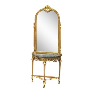 Louis XVI Style French Console & Mirror
