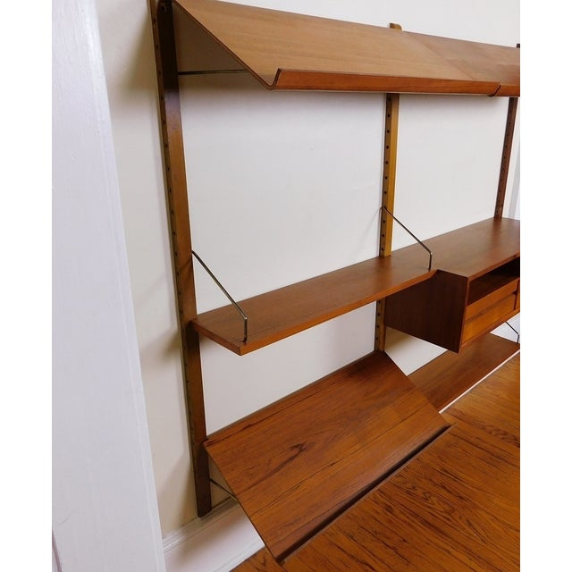 Danish Modern Teak Floating Adjustable Desk Wall Unit Bookcase by Carlo Jensen for Hundevad & Co - Image 6 of 9