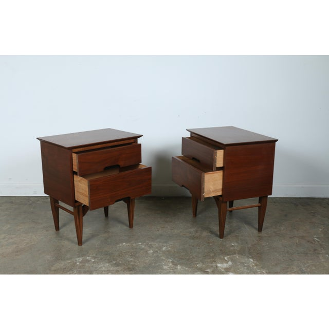 Mid-Century Walnut Nightstands - A Pair - Image 11 of 11