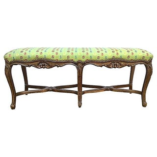 Antique French Carved & Upholstered Bench