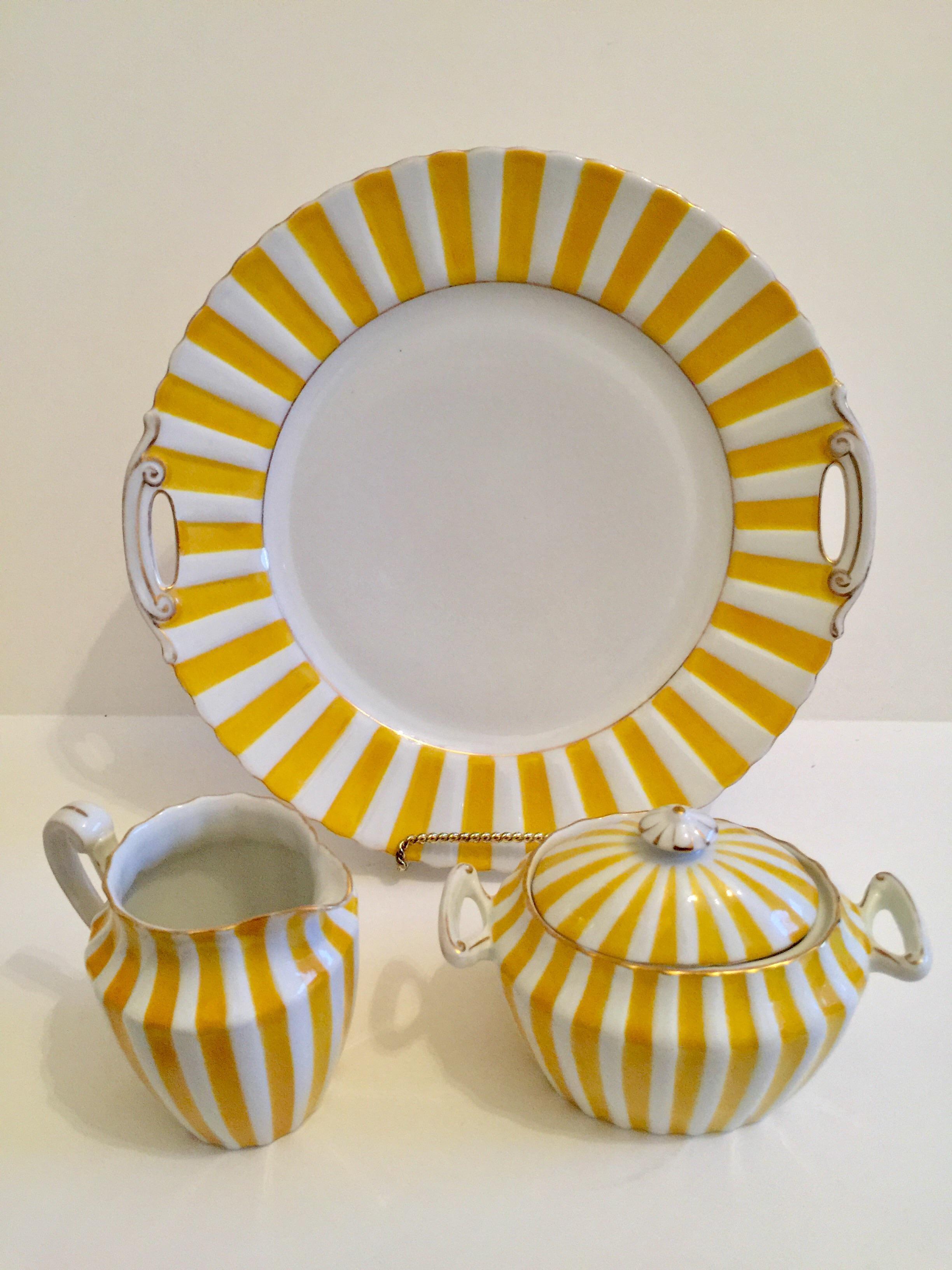 Silesian Art Deco Yellow Porcelain Serving Pieces Set Of