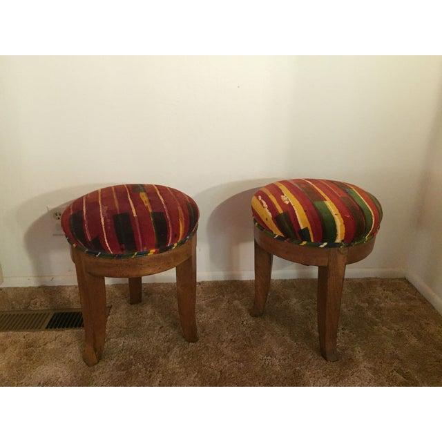 Image of Antique Stools W/ Jack Lenor Larsen Fabric - Pair