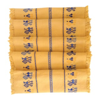 Yellow & Blue Vintage Embroidered Placemats - Set of 5