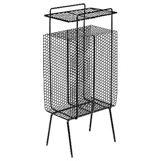Vintage 1960s Black Metal Mesh Side Table
