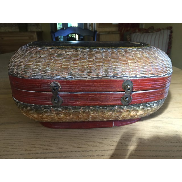 Vintage Chinese Bamboo Sewing Basket - Image 4 of 11