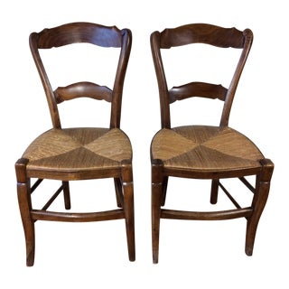 Antique Petite French Country Chairs - A Pair