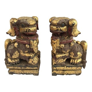 Chinese Antique Gilt Gold Guard Foo Dogs - Pair