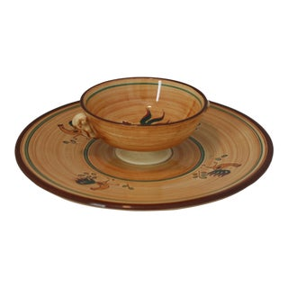 Pennsbury Pottery Hand Crafted Red Rooster Chip & Dip Server