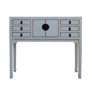 Chinese Distressed Off-White Narrow Foyer Table