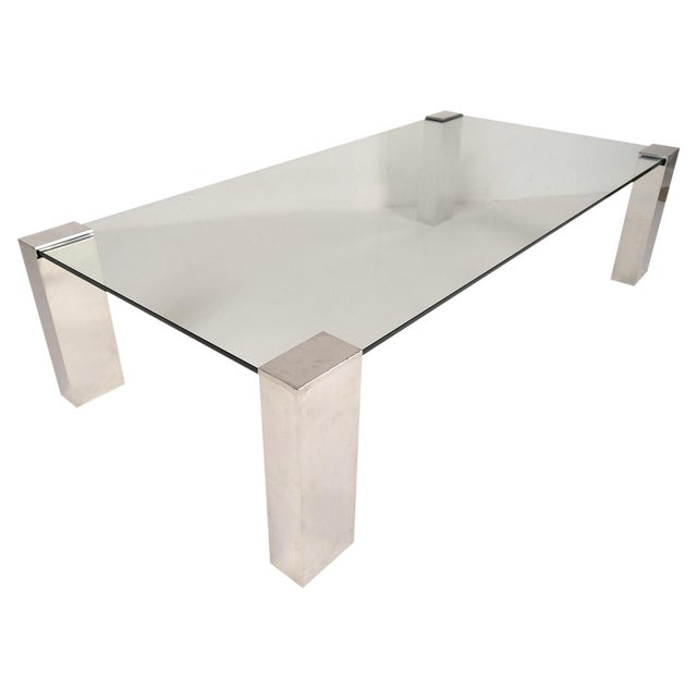 Mid-Century Modern Chrome & Glass Coffee Table - Image 1 of 6