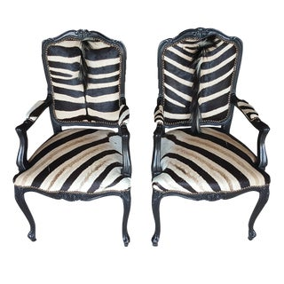 Zebra Hide Accent Chairs - a Pair