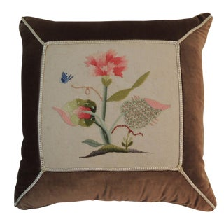 Antique English Crewelwork Embroidery Pillow