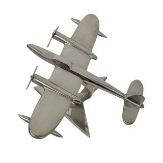 Cast Aluminum Airplane Model on Metal Stand
