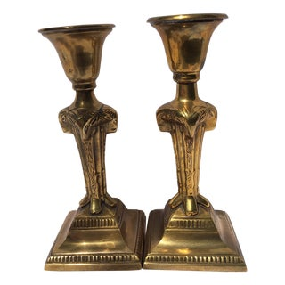 Vintage Ornate Heavy Brass Ram Candlesticks - 2