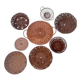Vintage Boho Chic Wall Baskets - Set of 8