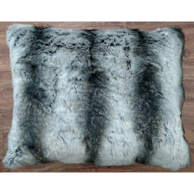 Faux Fur Pillow in Black & Gray - Image 2 of 3