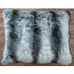 Image of Faux Fur Pillow in Black & Gray
