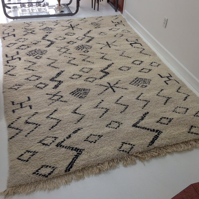 "Authentic Moroccan Beni Ourain Rug - 6'5"" X 9'3"" - Image 3 of 5"