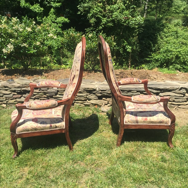 Vintage Victorian High Back Parlor Chairs - A Pair - Image 3 of 11