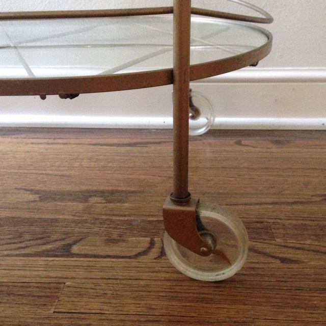 Vintage Brass & Glass Bar Cart - Image 5 of 6
