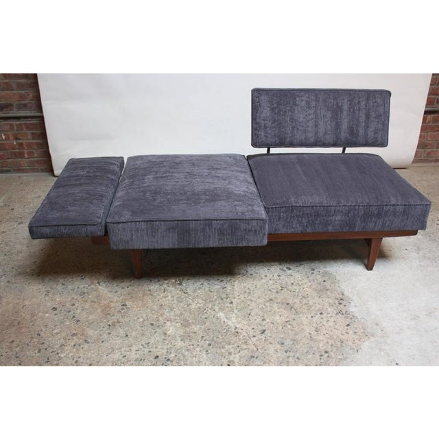 Danish Modern Convertible Daybed/Sofa on Chrome and Walnut Base - Image 7 of 11