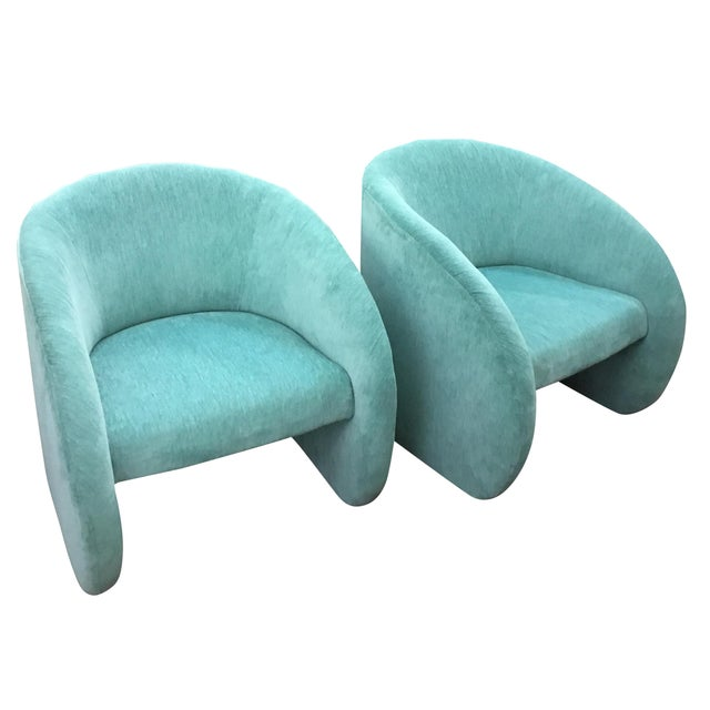 Image of Mid-Century Modern Turquoise Chairs - Set of 2
