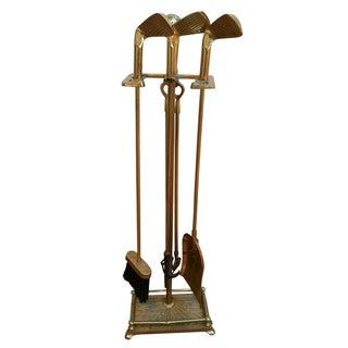 Brass Golf Motif Fireplace Tool Set