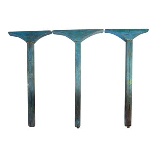 19th Century Antique Painted Wooden Columns and Arches - Set of Three